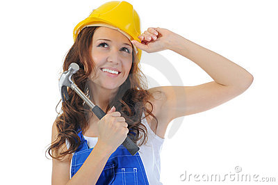Beautiful Young Woman Doing Repairs Royalty Free Stock Images - Image: 22358589