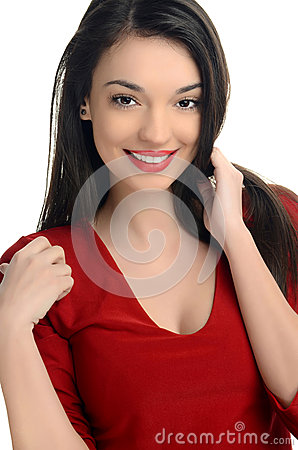 Beautiful young woman dressed in red smiling.