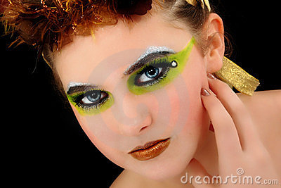 Beautiful Young Woman Face Artsitic Cosmetics