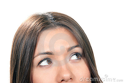 Beautiful young woman face close-up composition