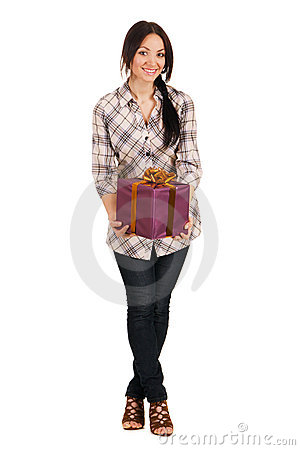 Beautiful young woman with a gift box