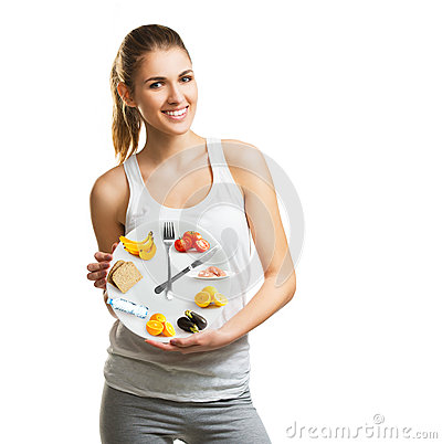Free Beautiful Young Woman Holding A Plate With Food, Diet Concept Royalty Free Stock Photo - 67682765