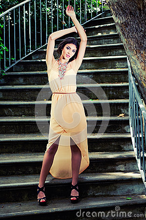 Free Beautiful Young Woman In A Garden Stairs. Stock Photo - 28645440