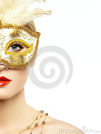 Free Beautiful Young Woman In Mysterious Golden Venetian Mask Stock Photography - 34713502