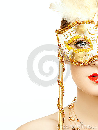 Free Beautiful Young Woman In Mysterious Golden Venetian Mask Stock Photo - 34713510