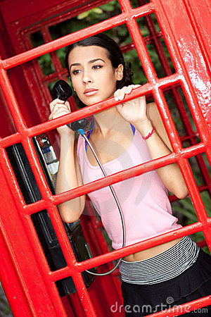 Free Beautiful Young Woman In Phone Booth Stock Photos - 20319283