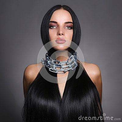 Free Beautiful Young Woman In Steel Chain Stock Images - 98792024