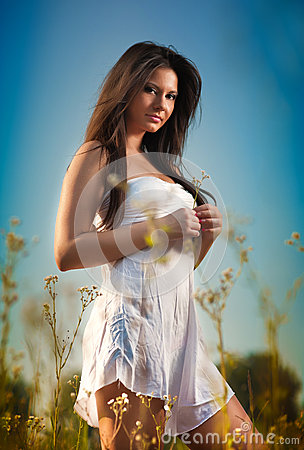 Free Beautiful Young Woman In Wild Flowers Field On Blue Sky Background. Portrait Of Attractive Brunette Girl With Long Hair Relaxing Royalty Free Stock Image - 52379306