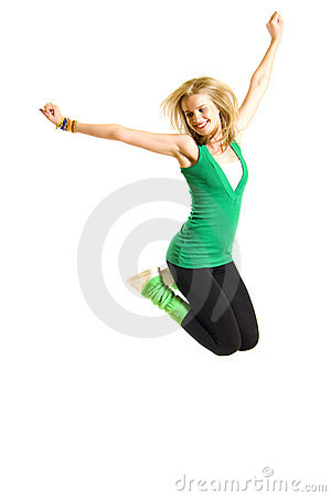 Beautiful Young Woman Jumping Stock Photography - Image: 12759582