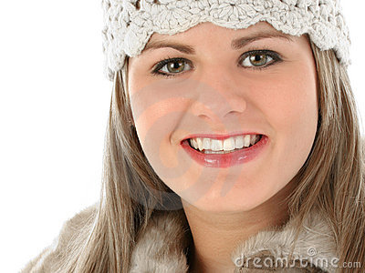 Beautiful Young Woman in Knit Hat and Fur Trimmed Coat