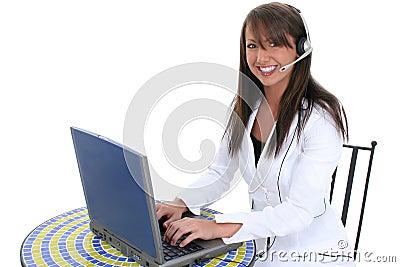 Beautiful Young Woman At Laptop Computer