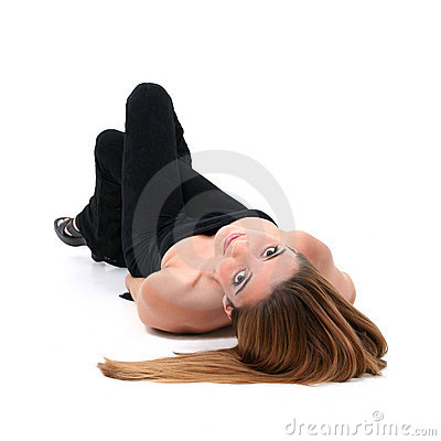 Beautiful Young Woman Laying On Floor