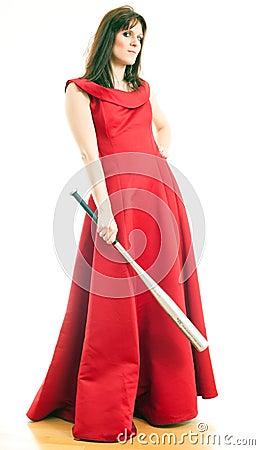 A woman with a baseball bat