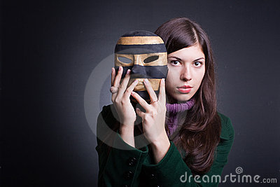 beautiful young woman with  mask.