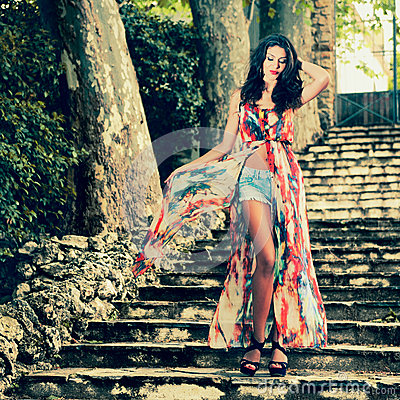 Free Beautiful Young Woman, Model Of Fashion, In A Garden Stairs Stock Photos - 40586763