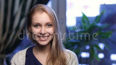 Beautiful young woman with perfect skin smiling stock footage