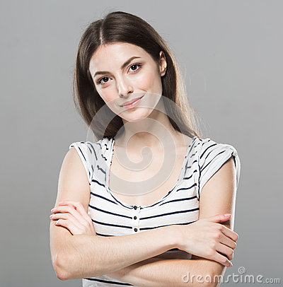 Free Beautiful Young Woman Portrait Cute Tender Pure Smiling Posing Gray Background Stock Photography - 62757742