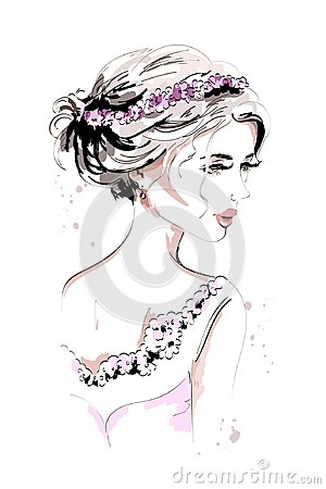 Free Beautiful Young Woman Portrait. Fashion Woman. Hand Drawn Cute Girl With Flower Wreath And Beautiful Hairstyle. Royalty Free Stock Images - 101585439