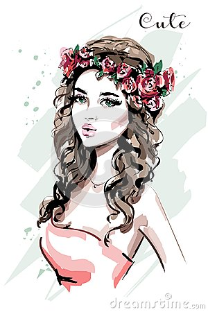 Free Beautiful Young Woman Portrait. Fashion Woman In Flower Wreath. Cute Girl. Sketch. Stock Images - 116756444