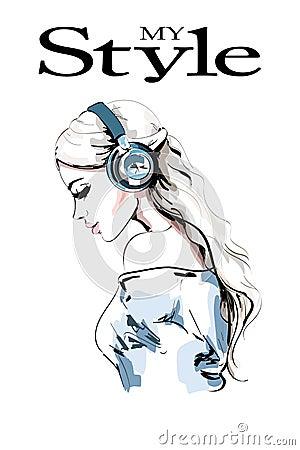 Free Beautiful Young Woman Profile. Hand Drawn Woman Portrait. Fashion Girl In Headphones. Sketch. Stock Photo - 103422480