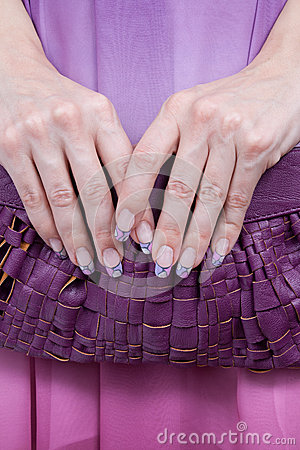 Beautiful young woman s manicured hands