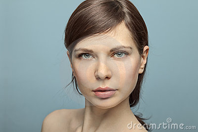 Beautiful young woman shot in studio no makeup.