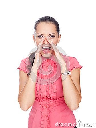 Beautiful young woman shouting