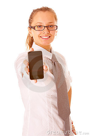Beautiful young woman showing a mobile phone with