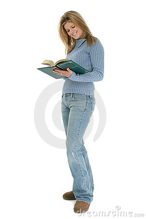 Beautiful Young Woman Standing With Book Open