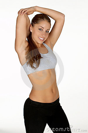 Beautiful Young Woman Stretching Tricep