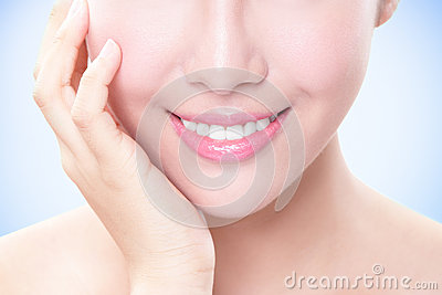 Beautiful young woman teeth close up