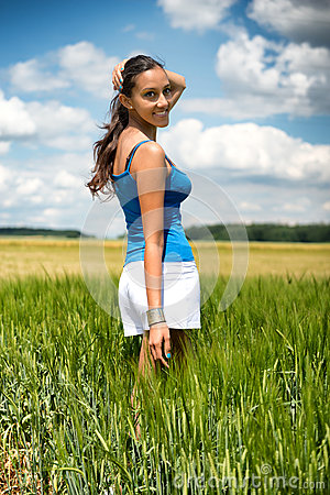 Free Beautiful Young Woman Turning To Smile Stock Image - 41920041