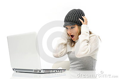 Beautiful young woman using laptop