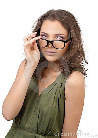Beautiful young woman wearing glasses