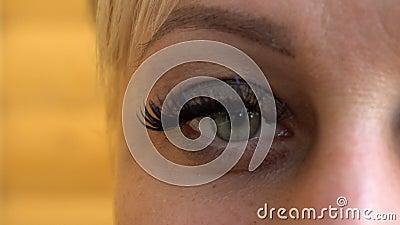 beautiful young woman wearing subtle makeup blinking her