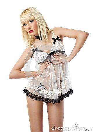 Beautiful young woman wearing white lingerie