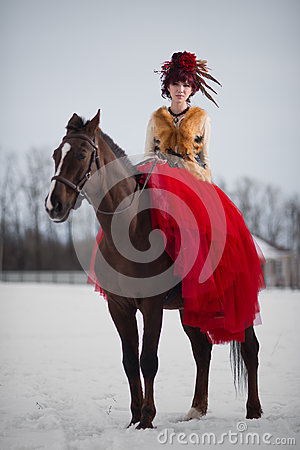 Free Beautiful Young Woman With A Brown Horse Stock Photography - 68886142