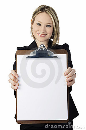 Free Beautiful Young Woman With Clip Board Stock Photo - 724760