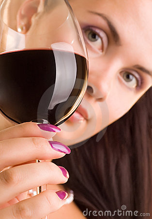 Free Beautiful Young Woman With Glass Of Red Wine Royalty Free Stock Photo - 7898915