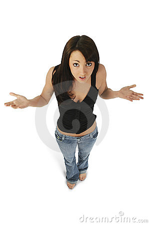 Free Beautiful Young Woman With Hands Out Confused Expression Stock Image - 564191
