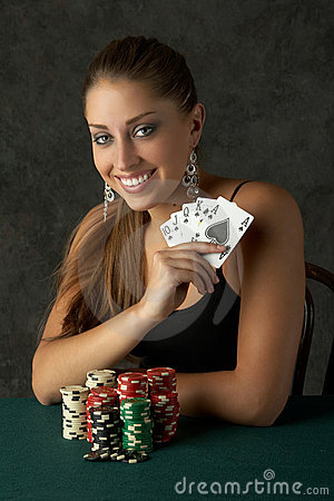 Free Beautiful Young Woman With Royal Flush Royalty Free Stock Images - 1178889