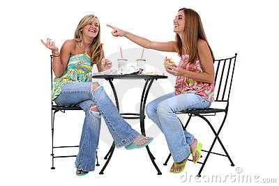 Beautiful Young Women Having Lunch Together