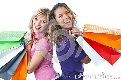 Beautiful young women shopping