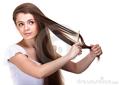 Beautiful youth teen girl with comb