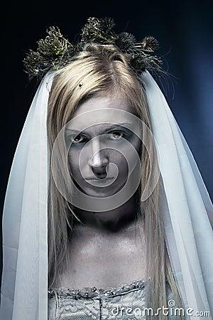 Beautiful zombie corpse bride