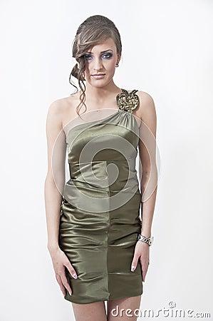 Beautiful girl in prom dress