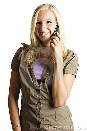 Free Beautifull Blond Teenage Girl On The Phone Stock Images - 6191684