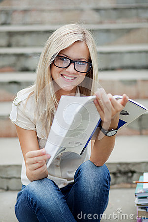 Free Beautifull College Student In Park Stock Image - 26732191