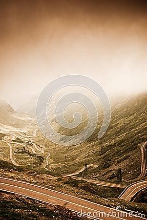 Beautifull landscape. Transfagarasan under dramatic lighting