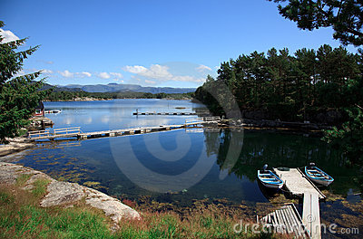 Beautifull Norway, bay  with boats